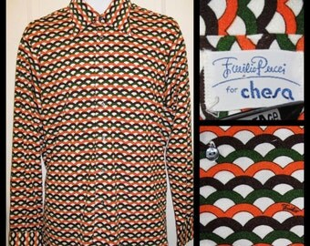Mens Vintage 1970's Designer Emilio Pucci Mens dress shirt L Disco Op Art Pop Art