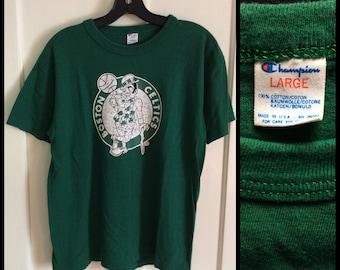 Vintage 1980's Boston Celtics NBA basketball team on all cotton Champion t-shirt size Large