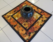 Handcrafted Quilted Fall Center Piece Mug Mat place mat black orange gold