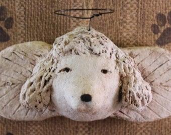 Poodle Angel Ornament, OOAK handmade from papier mache,Poodle Angel