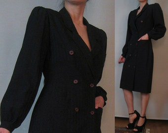 80s WOOL Mini DRESS or COAT vtg Double Breasted Puffed Puff Sleeves 2 Patch Pockets Wiggle Pencil Black Striped Fine Woven xs Small 1980s