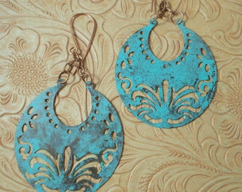 Gypsy Cowgirl Earrings - Brass Crescents with Cut Out Designs and Turquoise Virdigris Finish