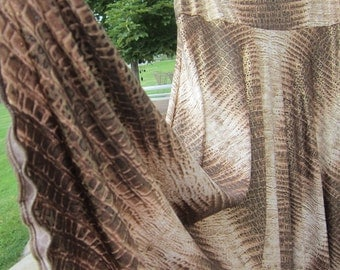 """Ladies Modest Golden Glittery Animal Print Polyester Spandex Stretch Knit Jersey Maxi Skirt for Missionary, Travel or Leisure, S/M, 36""""long"""