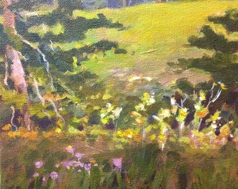 "Original Acrylic Abstract landscape painting- Summer at Kent park - 8"" x 8"""