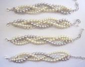 Rhinestone pearl braided bracelet twisted chunky statement pearl bracelet bridesmaid bridal