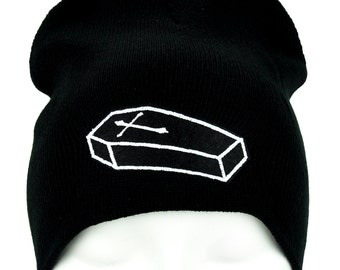 Future Corpse Cross On Coffin Casket Black Knit Beanie Hat - DYS-PA-233-BEANIE
