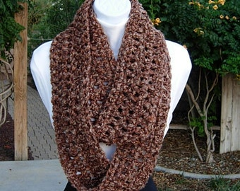 Long Infinity Loop Cowl Scarf Brown Tan Rust Tweed Extra Soft Thick Winter Crochet Knit Endless Circle 100% Acrylic, Ready to Ship in 2 Days