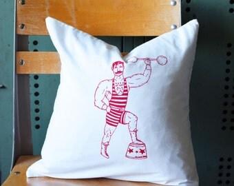 Throw Pillow - Throw Pillow Cover - Screen Printed Throw Pillow - Circus - Pillow - Strongman - Handmade Pillow - Home Decor - Kids Room