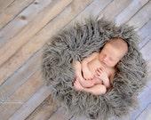 Oyster Faux Flokati Fur, Fur Blanket, Photography Prop, Faux Fur Rug, Newborn Fur, Newborn Baby Photography