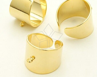 RR-022-GD / 1 Pcs - Wide One Loop Ring Base (Adjustable), 16K Gold Plated over Brass / Free Size