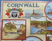 Vintage New Cornwall Souvenir Map Towel Linens Bright Colorful Port Cities St Ives Pictures Print Graphics 30 x 19