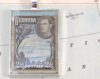 Vintage Bermuda Postage Stamp Necklace Pendant Key Ring