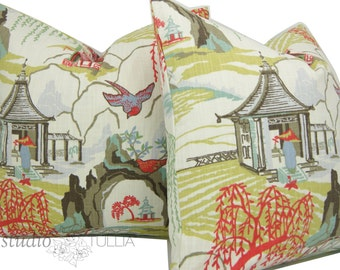 Set of Two - Chinoiserie Pillow Covers - Pagoda - Asian - neo toile - Japanese - Asian toile - 20 inch - Cotton - ready to ship