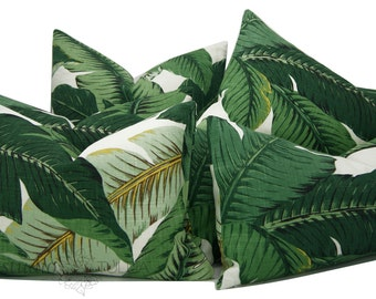 Swaying Palm - Linen - Pillow Cover -  Green Floral - Tropical -  Leaf Pattern -  modern resort - Decorative Pillow Cover - ready to ship
