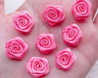 Small Satin Ribbon Rose Flower / High Quality Fabric Rose Bud / Little Rose Floral Applique (8pcs / 1.5cm / Pink) Rose Embellishment B223