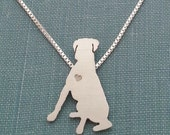 Boxer Dog Necklace, Sitting Personalize Sterling Silver small Pendant, Breed Silhouette Charm, Rescue Shelter, Mothers Day Gift