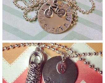 Custom Stamped fitness necklace with charm