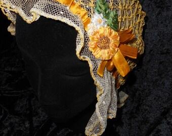 Victorian Antique Ribbonwork Night Cap/Sleep Bonnet Victorian gold Ribbon with Sunflower (FFs1108)