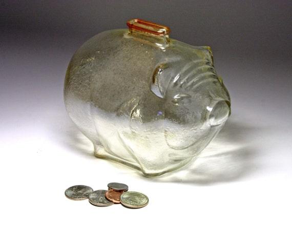 Vintage Anchor Hocking Large Marigold Glass Piggy Bank Circa