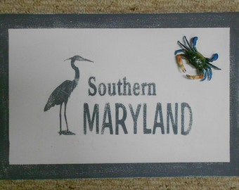 "Hand Painted Southern Maryland Sign - with 4"" crab"