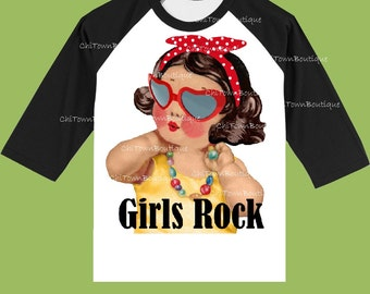 Girls Rock Shirt, Red or Black Sleeves, Girls' clothes,Customized Free, Girls Birthday T-Shirt, Baby Girls top, ChiTownBoutique.etsy