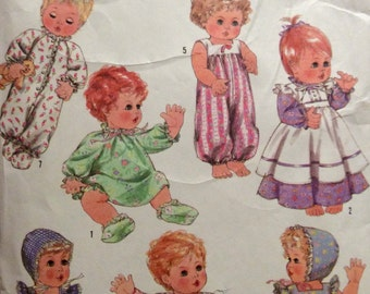 "Sewing Pattern 13-14"" Baby Doll Clothes Wardrobe Uncut Dresses Bunting Pinafore Bloomers Booties Romper Bonnet 1997"
