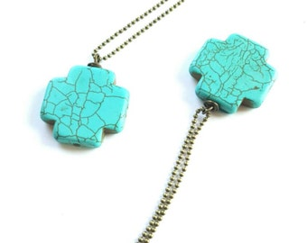 Turquoise cross necklace-  turquoise pendant necklace- long layering necklace