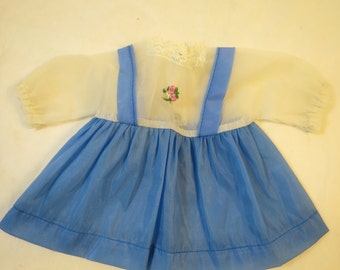Vintage Blue White Doll Dress Blue Skirt White Sheer Top Pinafore Look Nylon Snap Closure Sweet Pink Embroidery Flower Front Vintage Look