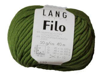 Lang Yarns Filo Bulky, Green Chunky, Bulky Vegan, Cotton Acrylic Blend for Knitting, Crochet, Great for Christmas Items and Decor