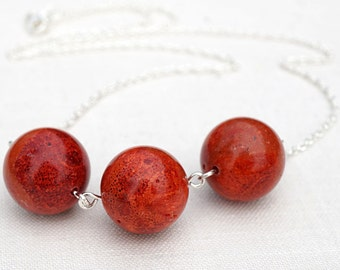 Valentines Gift, Red Coral Necklace. Sterling Silver Chain. Modern Minimalist Simple Necklace. Large Natural Sponge Coral Beads