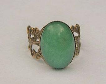 Handmade Green Ring Green Aventurine Gemstone Ring Green Stone Ring Green Oval Ring Green Gemstone Ring