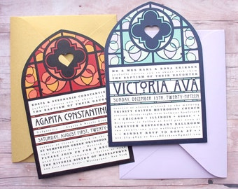 Baptism, Christening or Confirmation Stained Glass Inspired Invitation - Religious Milestone Event - Unique Card in Cathedral Window Shape