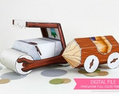 Stone Age Cars Favor Box Set : Print at Home Full-Color Template | Prehistoric Gift Box | Rock Car | DIY Printable - Instant Download