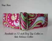 Dog Tag Collar, Paisley Dog Collar, Wide Dog Collar, Greyhound Tag Collar, Side Release Dog Collar, Pink Dog Collar, Pink Tag Collar
