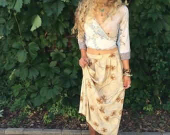 Vintage  SKIRT,size M, vintage clothing, mid length skirt, vintage skirt, poppy skirt, long aline skirt, indie skirt, boho skirt, Zasra