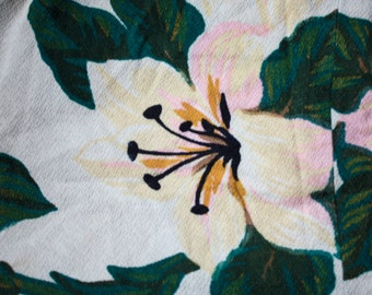 Vintage 1940s Barkcloth Lily Curtain Panel // 50s Barkcloth Floral Curtain Panel