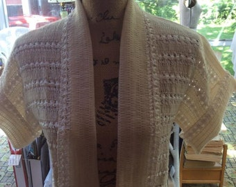 1950s 1960 s Bolero Shrug Cream Color Made Of knit Wool and Ribbon
