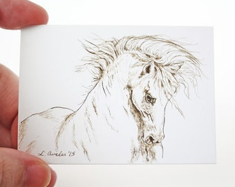 ACEO Print, Horse ACEO, Limited Edition, Art Card, Ink Drawing, Equine Drawing, Andalusian, Collectible Art, Miniature Art, Unframed Art