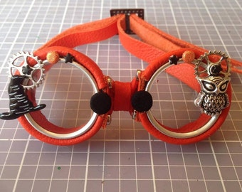 OOAK Blythe Orange Steampunk Goggles by Kaleidoscope Kustoms - All Hallow's Eve