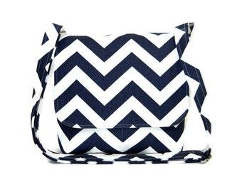 Small Navy Blue Chevron Purse, Chevron Messenger Bag for Women, Blue and White Zig Zag Print Pocketbook, Fabric Handbag, Crossbody Purse