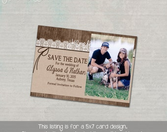 Country Chic Wedding Save the Date Card