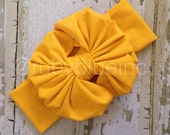 Mustard Yellow Messy Bow Head Wrap - Pool Safe