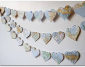 Map Hearts Garland - 9 feet - Love on Location - 3 inch hearts cut from maps of States in the US - Ready to ship