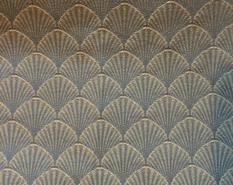 "Medium Weight Woven Decorator Fabric Blue Sea Shell Fabric 7/8 Yards X 56"" Wide #3155"