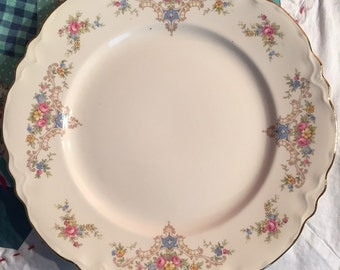 Vintage Homer Laughlin Republic Shape Dinner Plate Dainty Pink and Blue Floral Made in The USA #3231