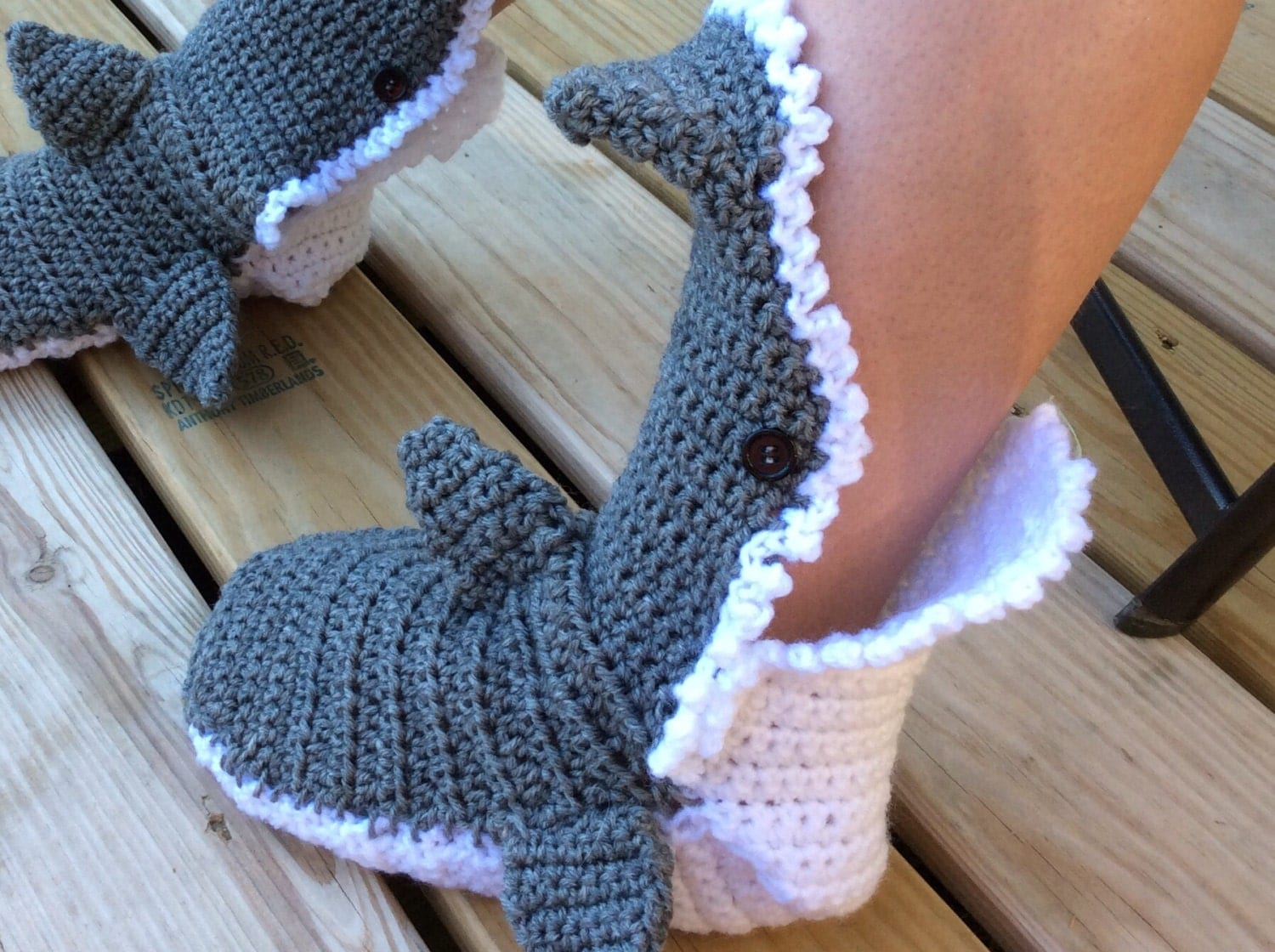 Contemporary Crochet Shark Slippers Free Pattern Image Collection ...