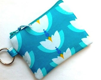 Keychain Coin Purse Small Zipper Pouch Change Purse Padded Camera Bag Cosmetic Case Card Case Keychain Lotus Flower Turquoise
