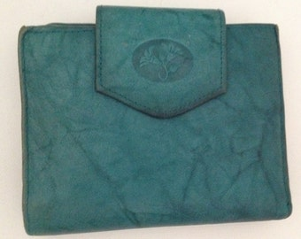 Vintage Buxton Wallet Green Leather Card Holder Coin Purse