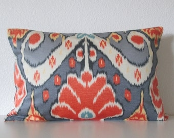 Market Marvel Mineral vibrant bright colorful ikat ombre grey orange blue decorative pillow cover