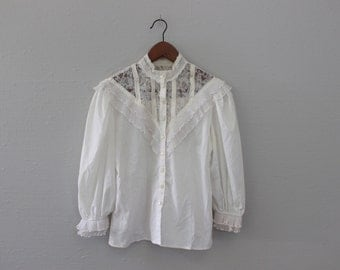 Vintage 70s White Lace Blouse By Jessica McClintock Gunnies Gunne Sax